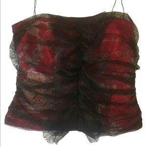 Authentic Christian Lacroix Red Black Lace Cami S